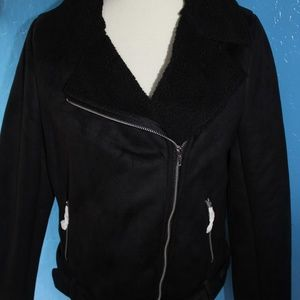 Forever 21 Jackets & Coats - NWT  Vegan Suede and Shearling Moto Coat sz L
